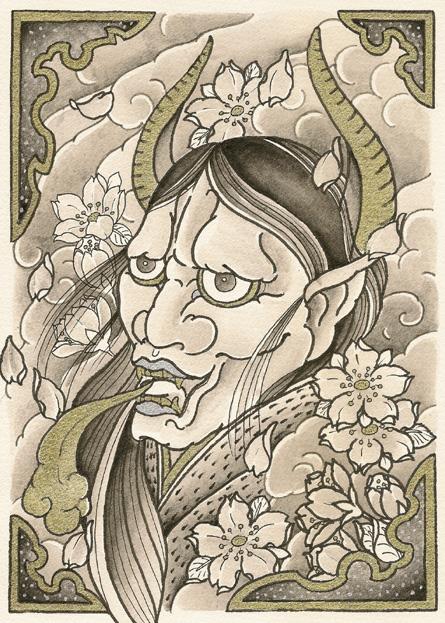 夜叉と桜のタトゥーデザイン画像