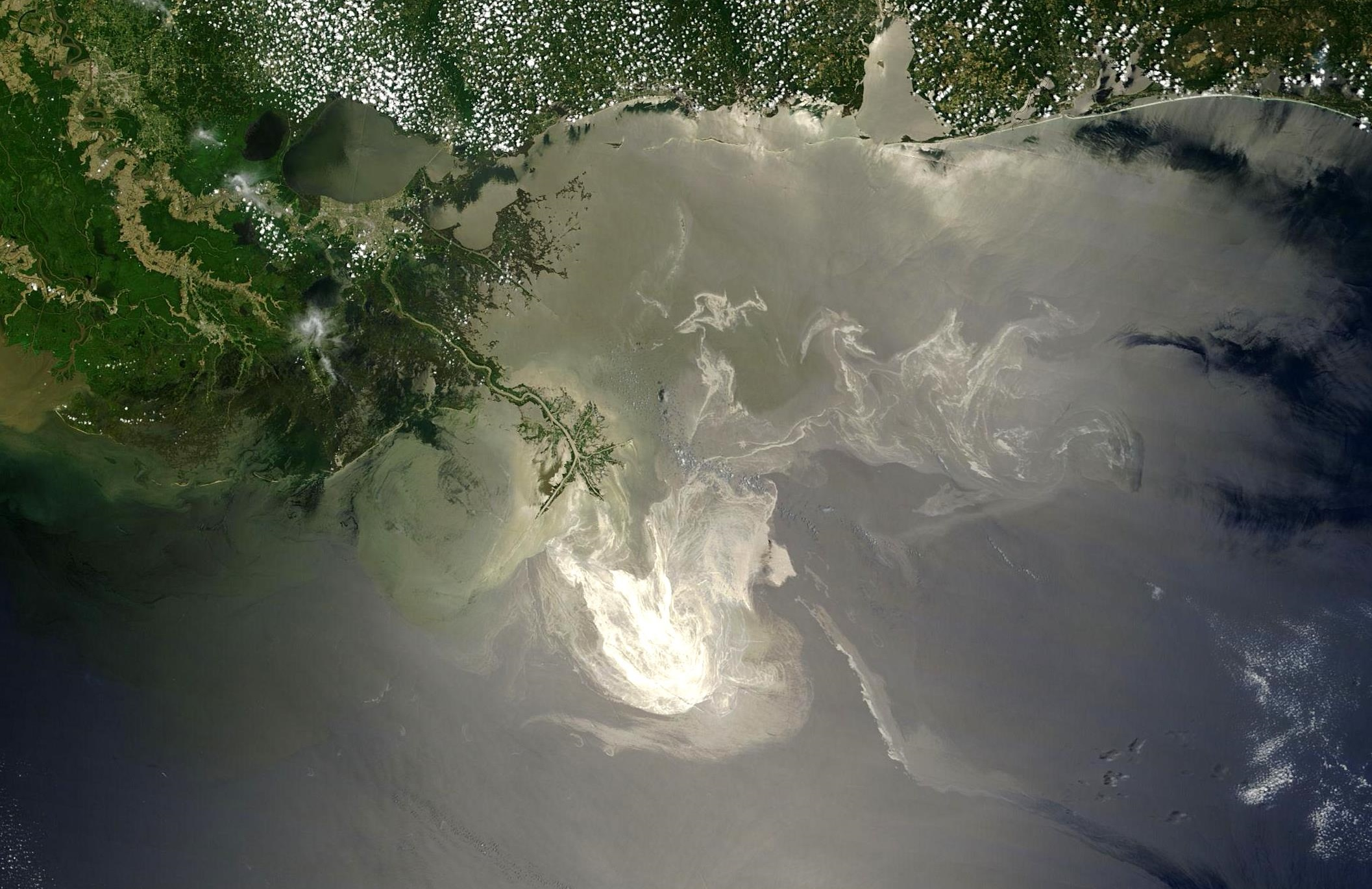 The lingering oil slick from DeepWater Horizon was imaged off the Mississippi Delta on May 24, 2010.