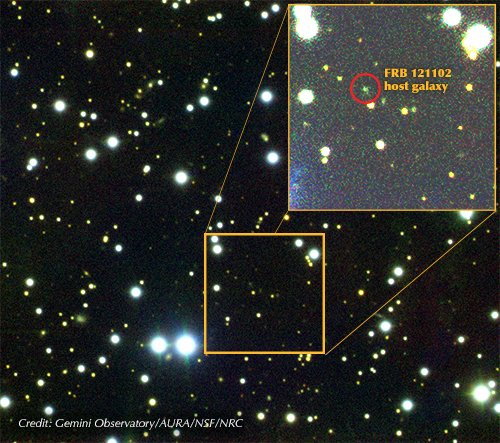 FRB 121102, a repeating burst, was discovered in 2015. This discovery enabled astronomers to figure out what galaxy the FRB came from and in turn locate hundreds more FRBs. Image credit - Gemini Observatory / AURA / NSF / NRC