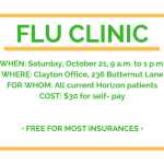 Flu Clinic this Saturday (10/21/2017)