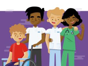 Cartoon of four members of NHS staff