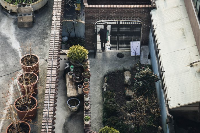 Looking down at the house next to our apartment in Donggu, Ulsan.