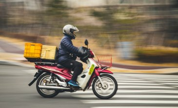 A motorbike on the street near our apartment in Donggu, Ulsan.