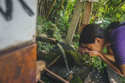 Being another hot day, we found respite in the shade of bamboo trees and got to wash up in the water provided at shrines and temples along the Philosopher's Path.