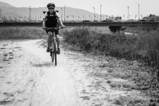The first 16 miles was bikepath, some of it dirt trail.