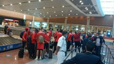 صورة بعثة الوداد تصل إلى مصر