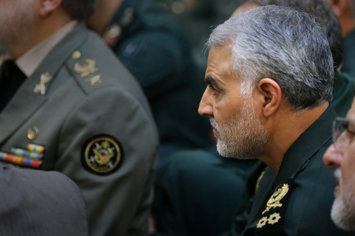 Senior commanders of the Islamic Republic of Iran's armed forces, including General Qasem Soleimani, met with Ayatollah Khamenei on April 11, 2016. Source: http://english.khameini.ir, licensed under a Creative Commons Attribution 4.0 International License.