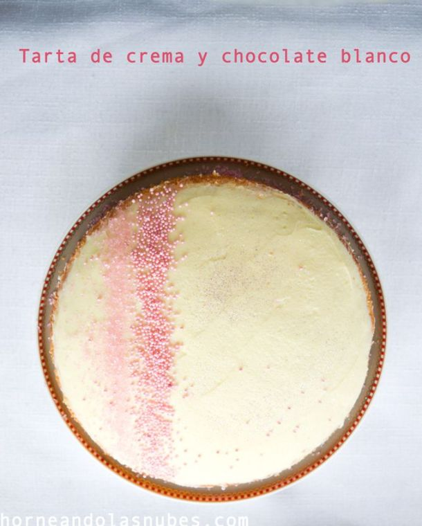 Tarta de crema y chocolate blanco
