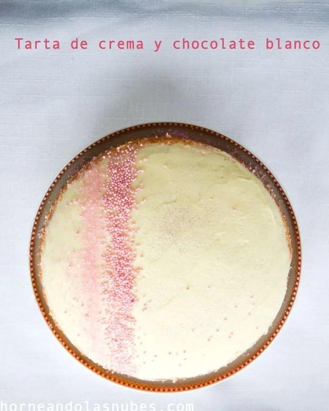 Tarta de crema y chocolate blanco