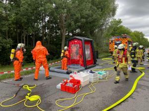 Dekontaminationsstation im Einsatz