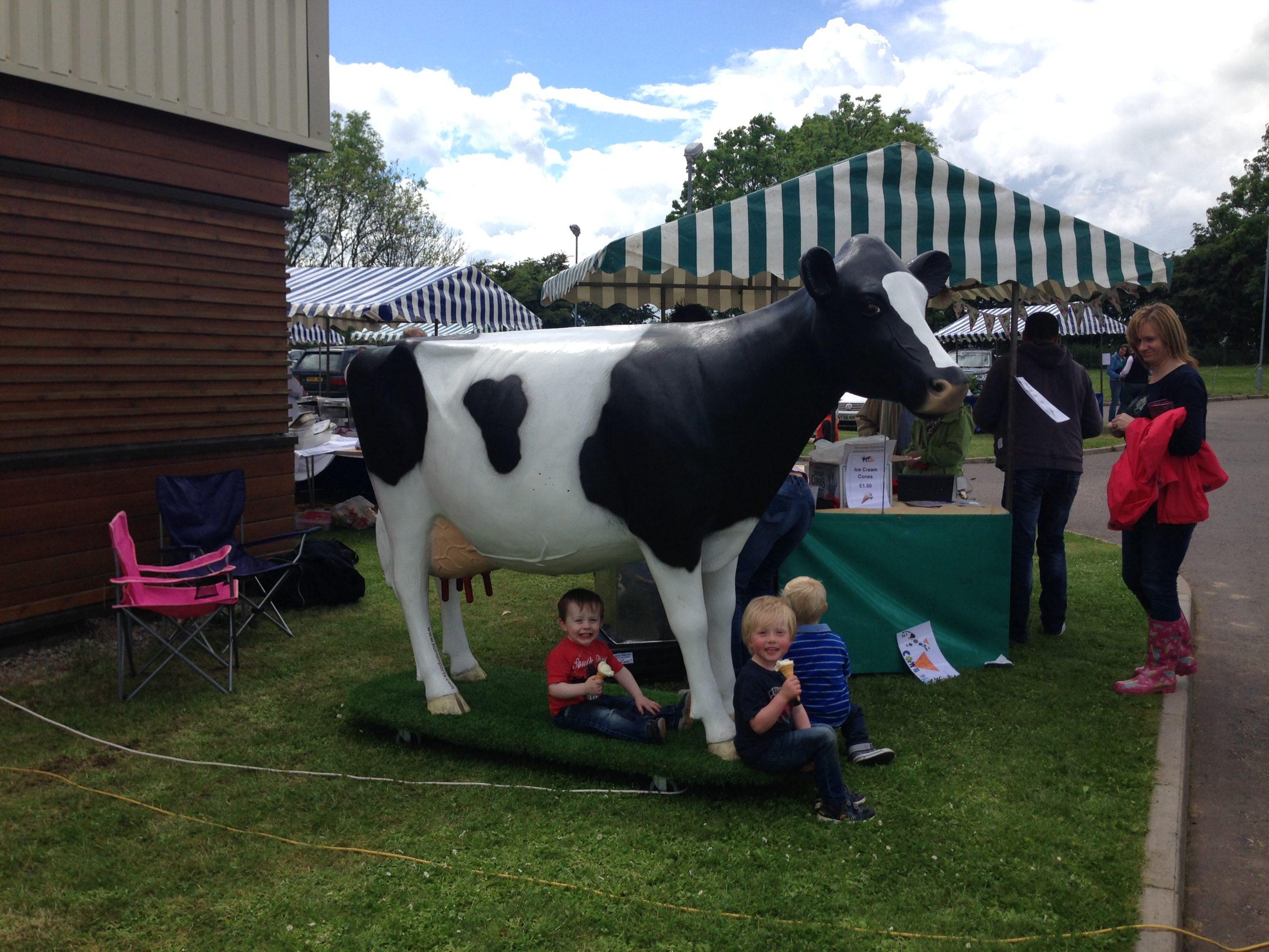 3D Model Milking Fibreglass Cow at Farm Open Day