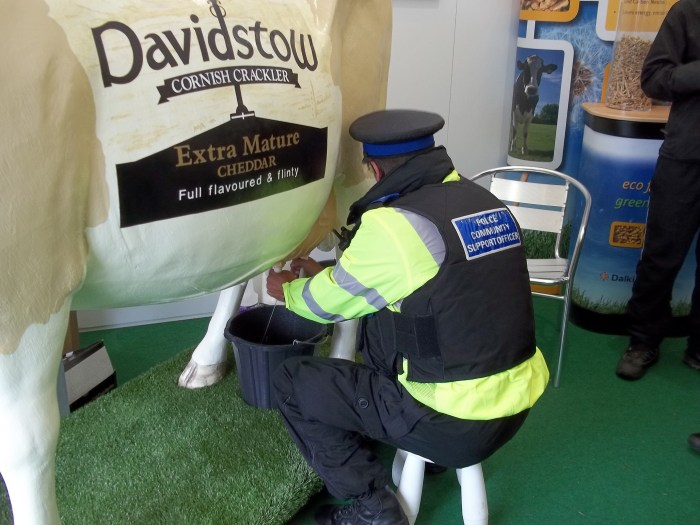 Policeman Milking Life Size 3D Model Milking Cow