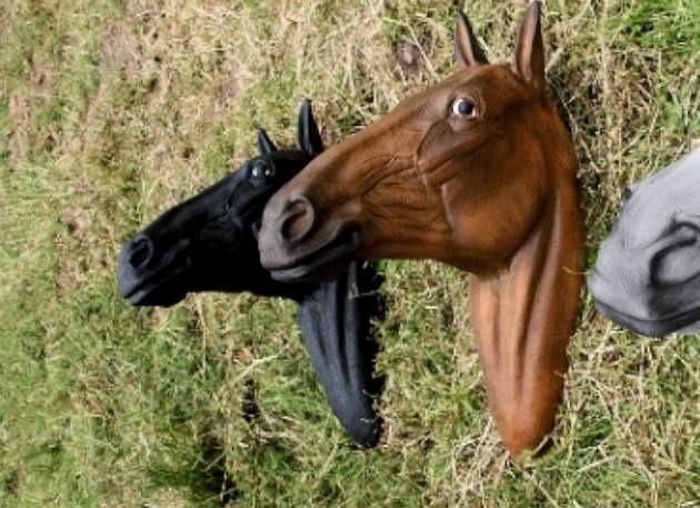 Life Size Black Horse Head Model