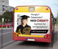 Louisville Orchestra Auditions Bus Sign