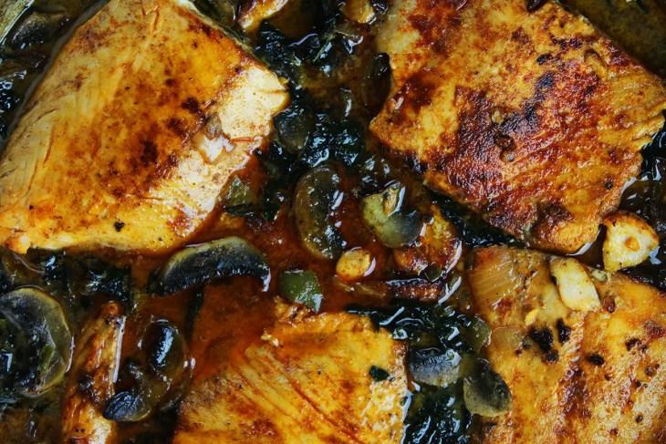 Coconut braised salmon recipe
