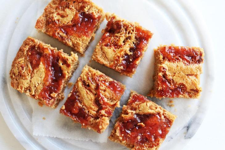 The best peanut butter and jelly blondies