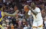 Guard Andrew Jones and the Texas men's basketball team rallied late to beat Iowa State, 72-68, evening their record against Big 12 opponents at 4-4 (photo by Jose Mendez / Horns Illustrated).