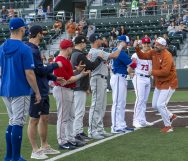 Brooks Kieschnick, Texas Alum, also served as the coach for the 2020 Alumni team-