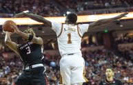 Andrew Jones up high-arms spread on defense