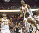Four Texas players waiting for the rebound-