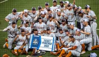 Texas Baseball Celebrate After NCAA Super Regional win