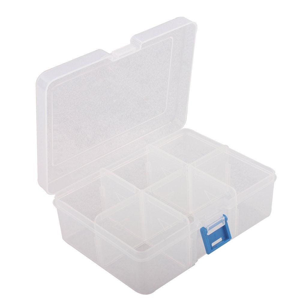 Craft Supply Plastic Storage Box 6 X Adjustable Compartments