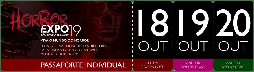 Horror Expo: Passaporte Individual | Horror Expo | Viva o Mundo do Horror | Feira Internacional do gênero Horror para Cinema, TV, Literatura, Games, Música e Cultura Pop