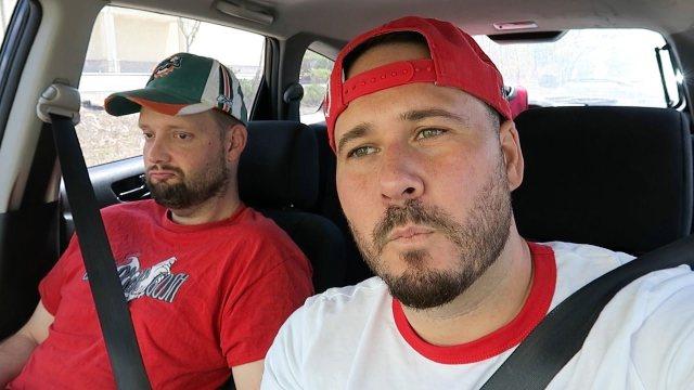 Omar Gosh riding in a car ghost hunting