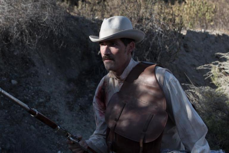 "Matthew Fox as John Brooder in the western film ""BONE TOMAHAWK"" an RLJ Entertainment release. Photo credit: Scott Everett White."