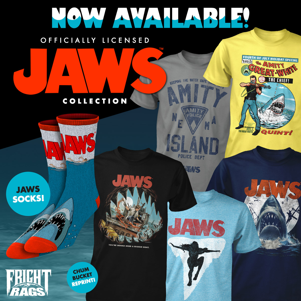 New Summer JAWS & CHUCKY Merch From Fright-Rags!