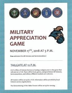 Military Appreciation game at CCU