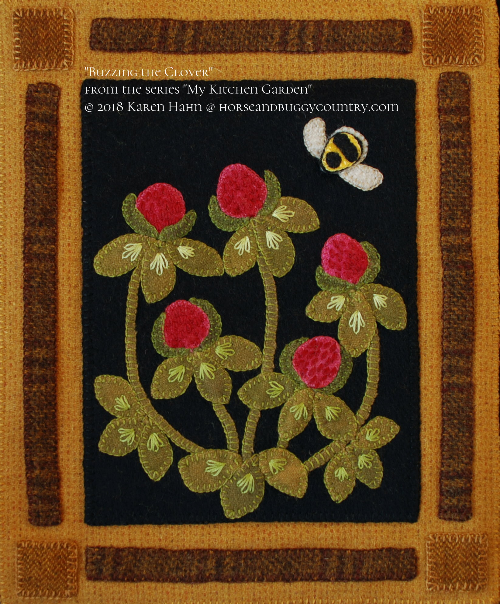 "Wool Applique Pattern Kit ""Buzzing the Clover"" from the series ""My ..."