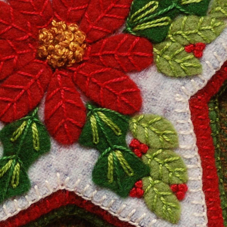 Wool Applique Pattern Poinsettia Star Embroidery Ornament