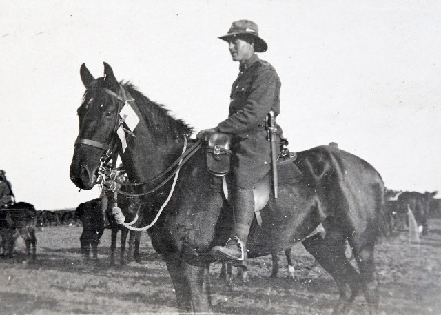 Trooper Pynson Mossman on his Army-assigned 'bone-rattler'