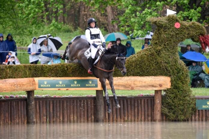 Michael Jung riding Fisherrocana, into the water. Photo Revolution Sport