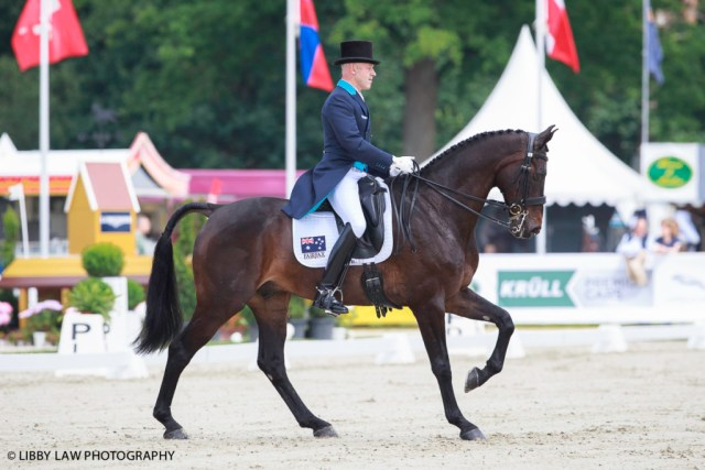 Andrew Hoy on Cheeky Calimbo lead the IC3* Meßmer Trophy Dressage after the first day of dressage at Luhmuhlen. (Image: Libby Law)
