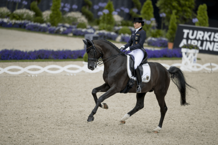 Kristina Bröring-Sprehe demonstrated exactly why she is the world no. 1 rider when leading Germany to a convincing victory yesterday in the sixth and final leg of the FEI World Cup Dressage 2016 series partnering Desperados. (FEI/Dirk Caremans)