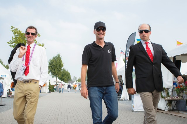 Erik with Sir Mark Todd and Tim Price at Aachen in 2015 (Image: Libby Law)