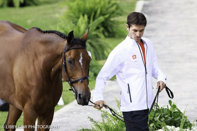 Steve Guerdat and Nino at the first horse inspection (Image: Libby Law)