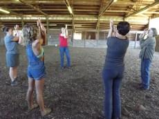 Asana practice in the arena!