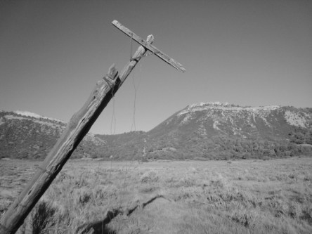 """Remnants of the old telephone poles and lines remain in Horse Gulch and continue over """"Telegraph Pass"""" to the east--not telegraph poles."""