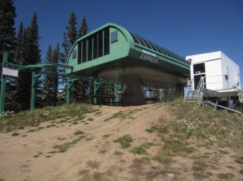 A high-speed six-passenger chairlift (lift 1) at Durango Mountain Resort sits idle last summer.