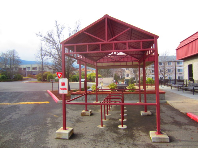 This covered bike rack was at the YMCA in Ashland, OR.