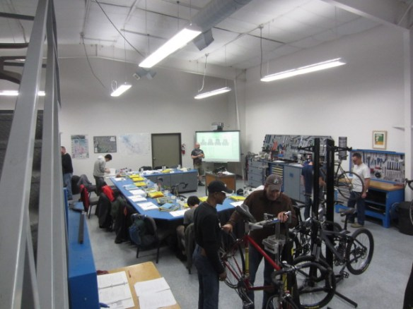 Students work on bikes at the United Bicycle Institute in Ashland, Oregon.