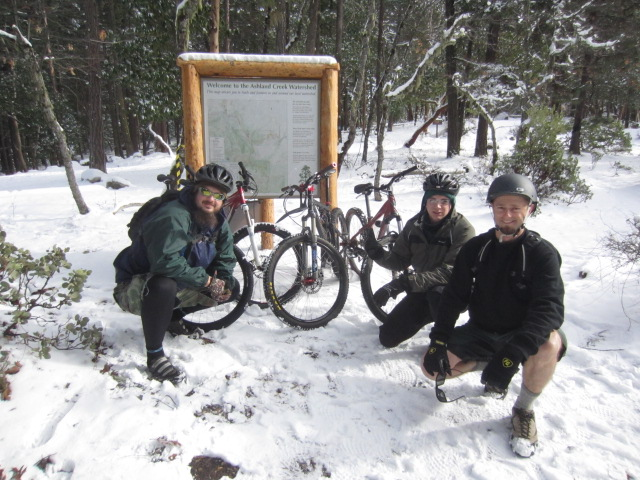 This blogger and a few buddies pause for a break on a winter mountain bike ride near the Ashland Watershed Area. We rode Alice and Wonderland and BTI. Tons of jumps, gaps, banking turns and crushed granite to ride on.