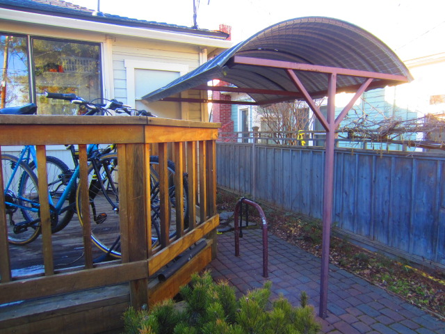 This was the covered bike rack outside of the Cycle Hostel in Ashland, Oregon.
