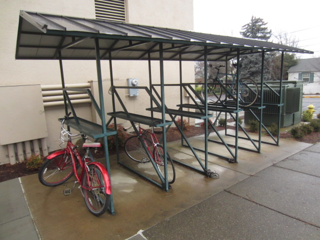 The Ashland High School has this covered double-decker bike rack that fits 24 bikes.