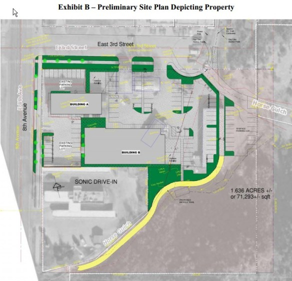 This map was included with the agenda at the Durango City Council meeting on Nov. 5, 2012 where Hall said that the Council approved a contract to purchase the Pediatric Partners Parcel.