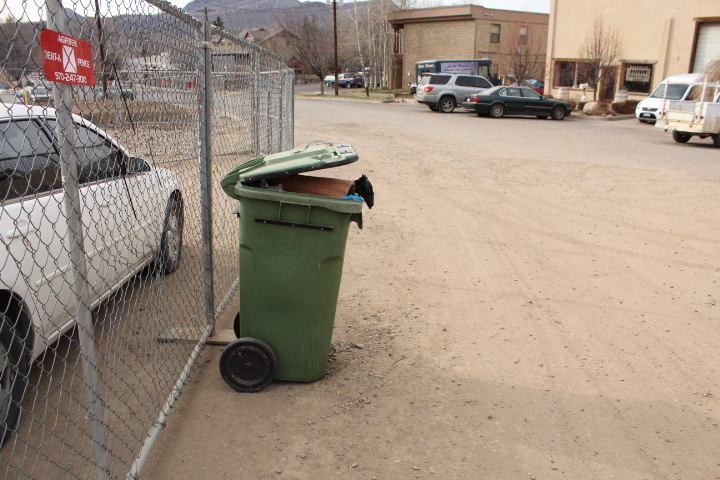 The City's trash can is overflowing at Horse Gulch trail head on March 27, 2013.