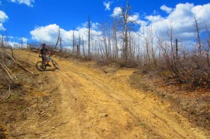 After you ride about a tenth to a quarter of a mile, you will see the Missionary Ridge trail cutting off to the right. It's in front of my buddy in this picture.